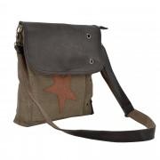 Corium® Дамска чанта от лен 27 x 30 x 6 см. със сиво-червена звезда