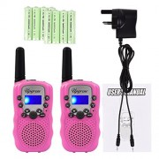 Upgrow Kids Rechargeable Walkie Talkies Long Range 22 Channel FRS/GMRS LCD Display 2 Way Radio (1 Pair, Pink)