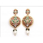 Indian Style Beaded Dangle Drop Fashionable Earrings Traditional Jhumka Jhumki Earrings for Women 11 GREEN RED