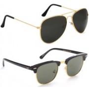 Phenomenal Aviator, Clubmaster Sunglasses(Black, Green)