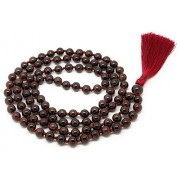 Givereldi Garnet Japa Mala 108 beads plus 1 larger guru bead, with real gemstones, for use in Meditation or as a Necklace