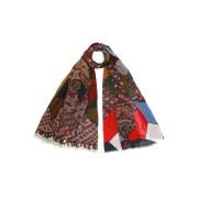 【60%OFF】カシミヤ シルク混 アーガイル 切替 ストール マルチ ファッション > ファッション小物~~スカーフ