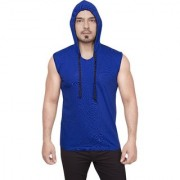 Dudlind Mens Casual Hooded Sleeveless T-Shirt Colour Blue Regular Fit | Casual Shirts for Mens Regular wear and Party wear