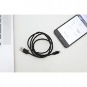Micro USB és iPhone kábel egyben, USB csatlakozóval, 1 méter, fekete