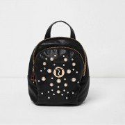 River Island Girls Black glitter faux pearl small backpack