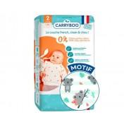 CARRYBOO Couches Écologiques Dermo-Sensitives T2 - 3 à 6Kg - 3x56 Couches Fanfare