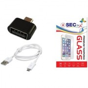 SEC 2.5 D Curve Tempered Glass + Sync Charge USB Data Cable + USB OTG Adapter Non Cable for SAMSUNG GALAXY CORE 2 G3