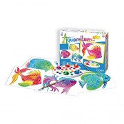 SentoSphere Fish Artistic Junior Watercolor Art Kit with 4 magic canvases