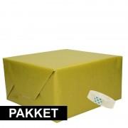 Merkloos 3x Groen kraft inpakpapier met rolletje plakband pakket 6