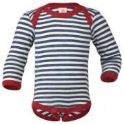 Engel - Baby Body L/S Merinowolle - Merino ondergoed maat 86 / 92 grijs/wit/blauw