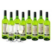 Wijnpakket Baron d'Embleme Sauvignon Blanc 8 flessen + 4 glazen