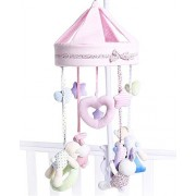 LLZJ Crib Musical Mobile Cot Toy Baby Activity Crib Hanging Campanula Pendant Stroller SoftPlush Doll Newborn Gym Bed Present Birthday Toddler Music Multifunction Suspension Early Education, Pink