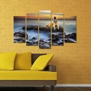 Декоративен панел за стена с морски изглед и ревящ тигър Vivid Home
