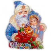 Панно бумажное Дед мороз и снегурочка, 20*23 см 973362