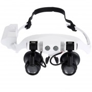 10x 15x 20x 25x Con Gafas Ojos Iluminados Con Lupa Magnifier Reloj Reparar La Lupa Con Luz LED (blanco)
