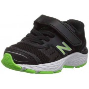 New Balance Boys' 680v5 Hook and Loop Running Shoe, black/Rbg green, 2 XW US Infant