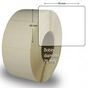 Etiketter på rulle självhäftande högblanka för bläck 76 x 65mm 2000 st