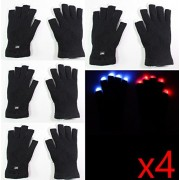 8 gloves ( 4 Pairs ) of 7 Mode LED Light Up Flashing Red Blue Green Glow Rave Black White Finger Gloves USA Seller ~ We Pay Your Sales Tax - Halloween Christmas Dance Party