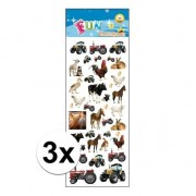 Merkloos 3x Stickersetje boerderij dieren