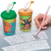 Woodland Friends Colour-in Bendy Straw Cups (Pack of 3)