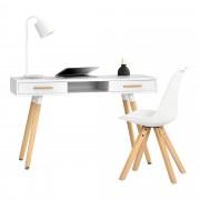 [en.casa] Escritorio retro (75x120x45cm) blanco lacado mate cajón con silla blanca