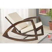 BM Wood furniture wooden styllish rocking chair for living room with cushions ( walnut brown)