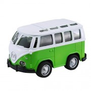Cecileie 1:36 Mini Alloy Diecast Bus Vehicle with Light & Music Pull Back Car Model Toy for Kid Boys Car Collection Toys