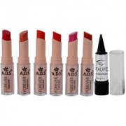 ADS Cinema Beauty Glossy Shine Forever Lipstick Pack of 6 And Free Kajal-GPTGP-A3
