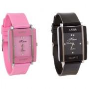 i DIVA'S Glory Combo Of Two Watches-Baby Pink Rectangular Dial Kawa And Black Rectangular Dial Kawa Watches