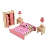 Style 2 : Demiawaking Delicate Bedroom Furniture Pink Wooden Dolls Toy Miniature Baby Nursery Room Crib Pretend Play Kids Children Gift