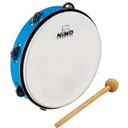 Nino Percussion Nino24Sb 10-Inch Abs Plastic Tambourine With Synthetic Head 1 Row Jingles Sky Blue