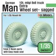 DEF Model 1:35 German Man milgl Truck Extra 2ea Sagged Wheels Revell #DW35071