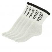 Styx 5PACK ponožky Styx vysoké šedé s černým nápisem (H26363636363) XL