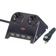 Prelungitor cu 2 prize si hub USB, fara intrerupator, negru, Brennenstuhl