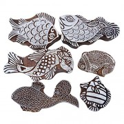 Lot Of 6 Pcs Hand Carved Printing Block Fish Wooden Pottery Stamps Border Stamp