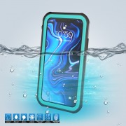 10m IP68 Waterproof Shock/Dirt/Snow Cell Phone Case for iPhone XS Max 6.5 inch with a Kickstand - Black / Green