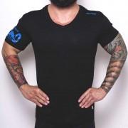 Bullywear Super Dry V Neck Short Sleeved T Shirt Black/Royal Blue DRYVN3