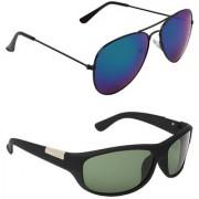 Zyaden Blue UV Protection Aviator Unisex Sunglasses (Pack of 2)