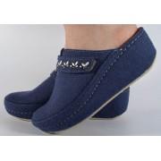 Papuci de casa bleumarin din lana cu platforma (cod 6622)