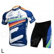 INBIKE la256 ciclismo poliester + nylon + lycra jersey + pantalones cortos para hombres - negro + blanco + azul (L)