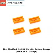 Lego Parts: Tile, Modified 1 x 2 Grille with Bottom Groove (PACK of 4 - Orange)