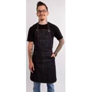 Kék farmer barista, báros kötény pántos zsebes B1