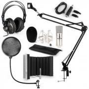 CM001S Mikrofon-Set V5 Kopfhörer USB-Adapter Arm POP-Schutz Schirm silber
