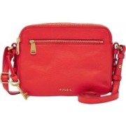Fossil Women Red Genuine Leather Sling Bag