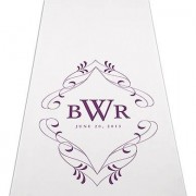 Confetti Flourish Monogram Personalized Aisle Runner-Plain White
