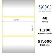 Etichette SQC - Carta termica protetta (bobina), formato 55 x 30