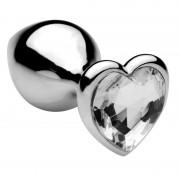 PLUG ANAL METAL CLEAR HEART JEWEL LARGE
