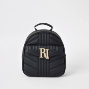River Island Womens Black quilted RI backpack (One Size)