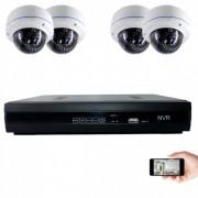 Kit vidéosurveillance IP 4 dômes 1mp 30m