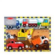 Melissa & Doug voertuigen houten vormenpuzzel 7 stukjes